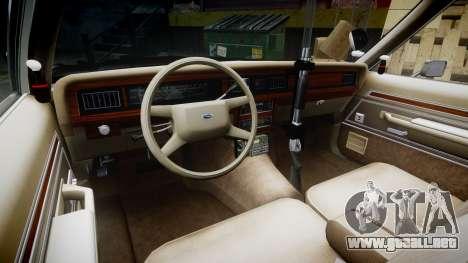 Ford LTD Crown Victoria 1987 Police CHP1 [ELS] para GTA 4 vista hacia atrás