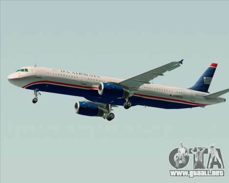 Airbus A321-200 US Airways para vista lateral GTA San Andreas