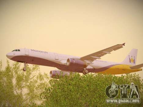 Airbus A321-232 Monarch Airlines para visión interna GTA San Andreas