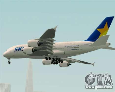 Airbus A380-800 Skymark Airlines para vista inferior GTA San Andreas
