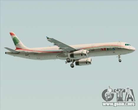 Airbus A321-200 Middle East Airlines (MEA) para la visión correcta GTA San Andreas