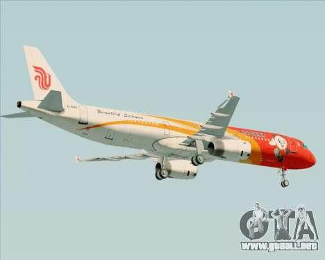 Airbus A321-200 Air China (Beautiful Sichuan) para GTA San Andreas vista hacia atrás
