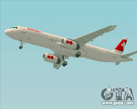 Airbus A321-200 Swiss International Air Lines para vista inferior GTA San Andreas