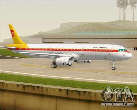Airbus A321-200 Continental Airlines para la vista superior GTA San Andreas