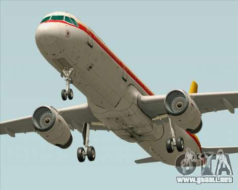 Airbus A321-200 Continental Airlines para GTA San Andreas vista hacia atrás