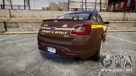 Ford Taurus Sheriff [ELS] Virginia para GTA 4 Vista posterior izquierda