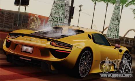 Porsche 918 Spyder 2013 para GTA San Andreas left