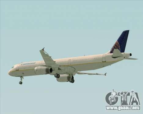 Airbus A321-200 Continental Airlines para vista inferior GTA San Andreas
