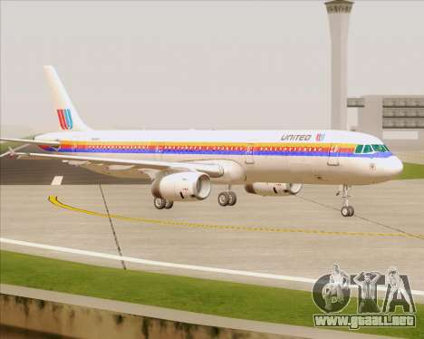 Airbus A321-200 United Airlines para la vista superior GTA San Andreas
