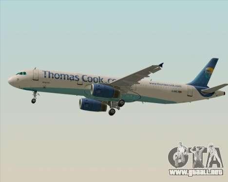 Airbus A321-200 Thomas Cook Airlines para GTA San Andreas vista posterior izquierda