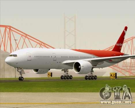 Boeing 777-21BER Nordwind Airlines para GTA San Andreas vista posterior izquierda