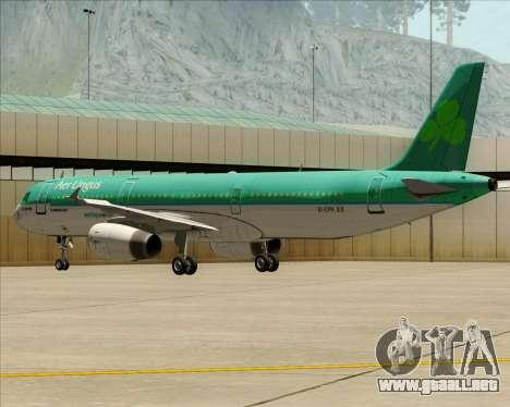 Airbus A321-200 Aer Lingus para vista lateral GTA San Andreas