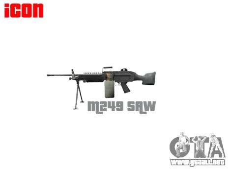 Luz ametralladora M249 SAW para GTA 4 tercera pantalla