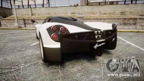 Pagani Huayra 2013 [RIV] Carbon para GTA 4 Vista posterior izquierda