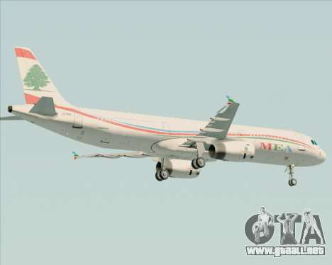 Airbus A321-200 Middle East Airlines (MEA) para vista inferior GTA San Andreas