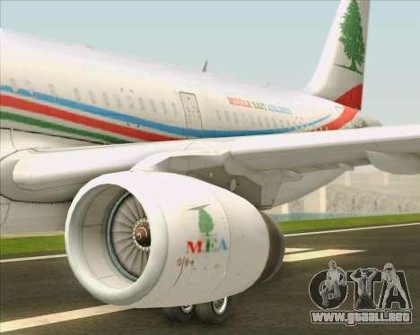 Airbus A321-200 Middle East Airlines (MEA) para el motor de GTA San Andreas