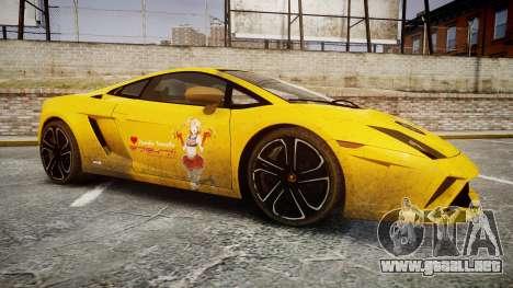 Lamborghini Gallardo 2013 Honoka Kousaka para GTA 4 vista hacia atrás