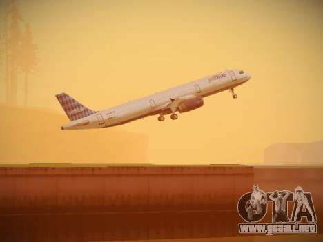 Airbus A321-232 jetBlue Airways para vista inferior GTA San Andreas