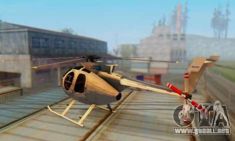 El MD500E helicóptero v3 para GTA San Andreas vista posterior izquierda