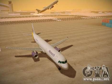 Airbus A321-232 Monarch Airlines para GTA San Andreas vista hacia atrás