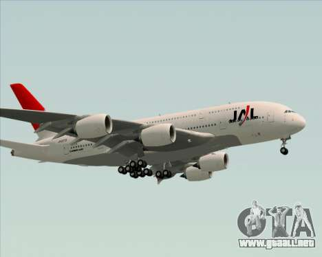Airbus A380-800 Japan Airlines (JAL) para vista lateral GTA San Andreas