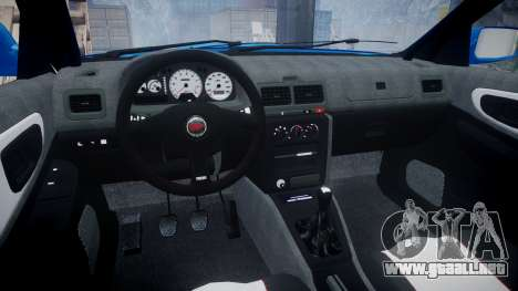 Subaru Impreza WRC 1998 World Rally v3.0 Green para GTA 4 vista hacia atrás