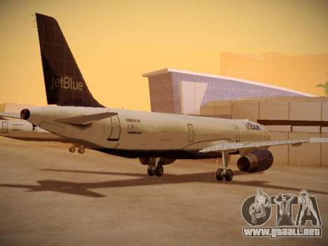Airbus A321-232 jetBlue Batty Blue para GTA San Andreas vista posterior izquierda