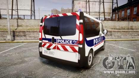 Renault Trafic Police Nationale para GTA 4 Vista posterior izquierda