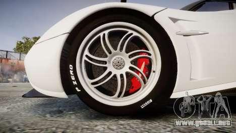 Pagani Huayra 2013 Carbon para GTA 4 vista hacia atrás
