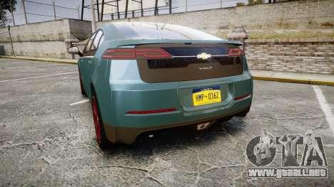 Chevrolet Volt 2011 v1.01 rims2 para GTA 4 Vista posterior izquierda