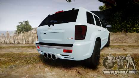 Jeep Grand Cherokee SRT8 stock para GTA 4 Vista posterior izquierda