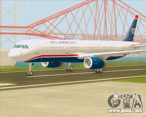 Airbus A321-200 US Airways para GTA San Andreas vista posterior izquierda