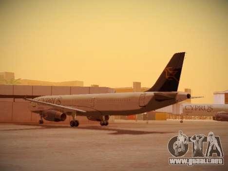Airbus A321-232 Cyprus Airways para GTA San Andreas vista posterior izquierda