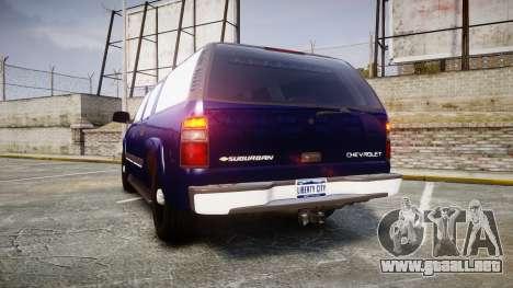 Chevrolet Suburban Undercover 2003 Grey Rims para GTA 4 Vista posterior izquierda