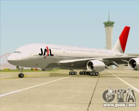 Airbus A380-800 Japan Airlines (JAL) para vista inferior GTA San Andreas