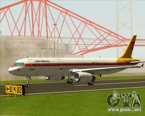 Airbus A321-200 Continental Airlines para la visión correcta GTA San Andreas
