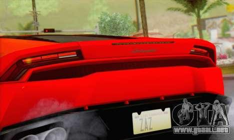 Lamborghini Huracan 2014 Type 2 para GTA San Andreas vista posterior izquierda