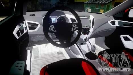 Hyundai Veloster Turbo 2012 para GTA 4 vista hacia atrás