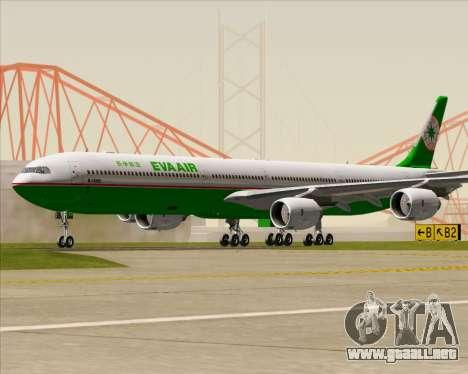 Airbus A340-600 EVA Air para GTA San Andreas vista posterior izquierda
