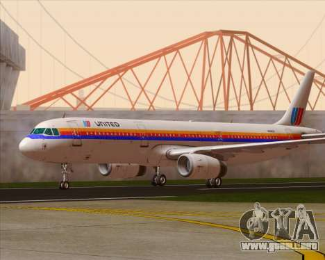 Airbus A321-200 United Airlines para GTA San Andreas left