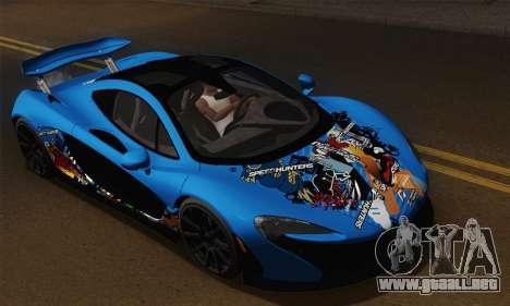 McLaren P1 Black Revel para GTA San Andreas vista hacia atrás
