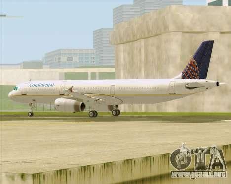 Airbus A321-200 Continental Airlines para GTA San Andreas vista posterior izquierda