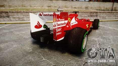 Ferrari F138 v2.0 [RIV] Alonso TIW para GTA 4 Vista posterior izquierda