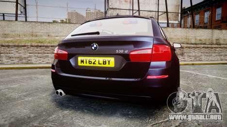 BMW 530d F11 Unmarked Police [ELS] para GTA 4 Vista posterior izquierda