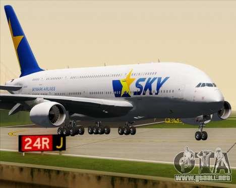 Airbus A380-800 Skymark Airlines para la vista superior GTA San Andreas