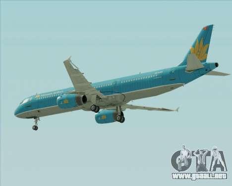 Airbus A321-200 Vietnam Airlines para vista inferior GTA San Andreas