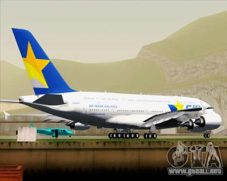 Airbus A380-800 Skymark Airlines para GTA San Andreas vista hacia atrás