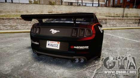 Ford Mustang GT 2014 Custom Kit PJ4 para GTA 4 Vista posterior izquierda