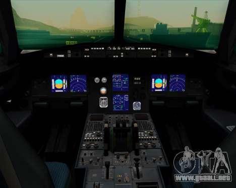 Airbus A321-200 Continental Airlines para GTA San Andreas interior