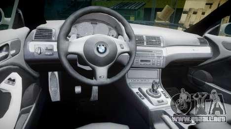 BMW M3 E46 2001 Tuned Wheel White para GTA 4 vista hacia atrás